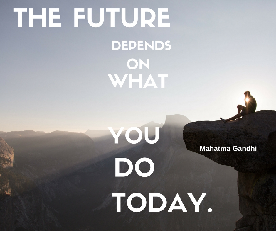 Inspirational Day Quotes: The Future Depends On What You Do Today. Best Motivational