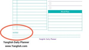 Notes in The Yanglish Daily Planner