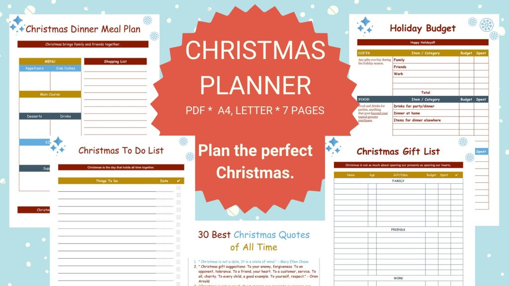 Christmas planning: a stress free and organized holiday.
